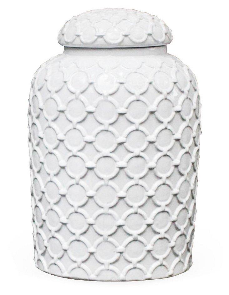 """12"""" Ceramic Ginger Jar, White"""