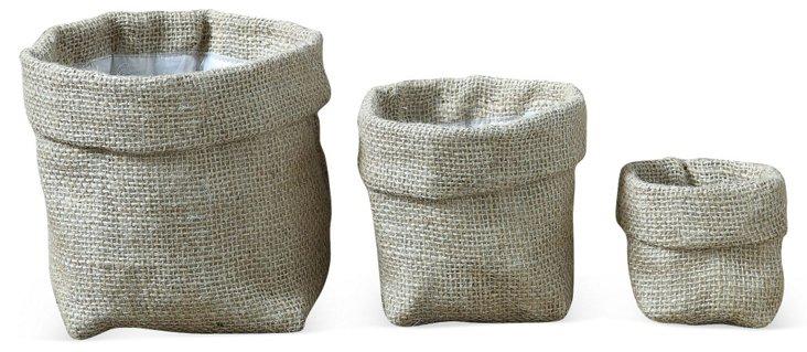Asst. of 3 Burlap Bags, Natural
