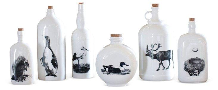 "10"" Stoneware Bottle w/ Penguin, White"