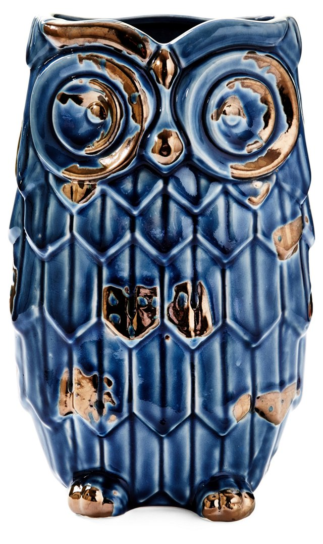 """12"""" Ceramic Owl Vase, Blue"""