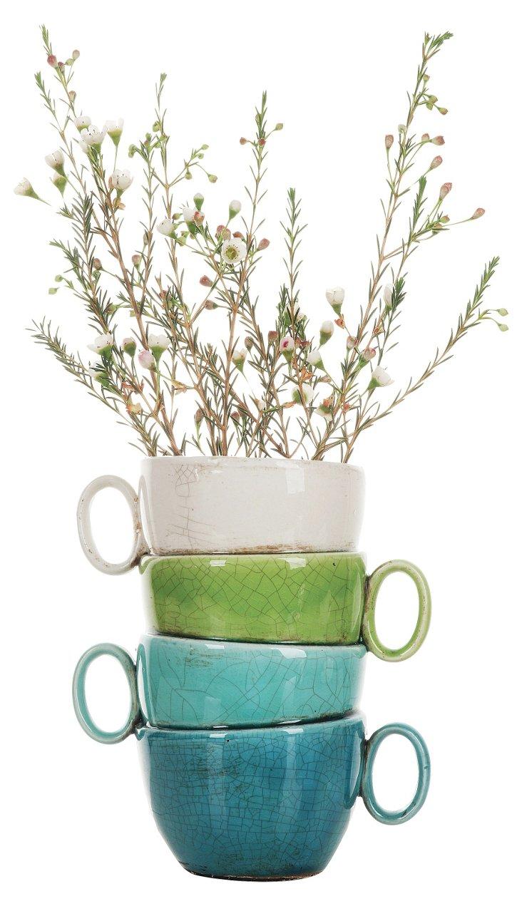 "11"" Terracotta Stacked Teacups Planter"