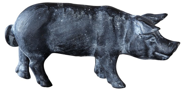 "13"" Cast Iron Pig Figurine, Gray"