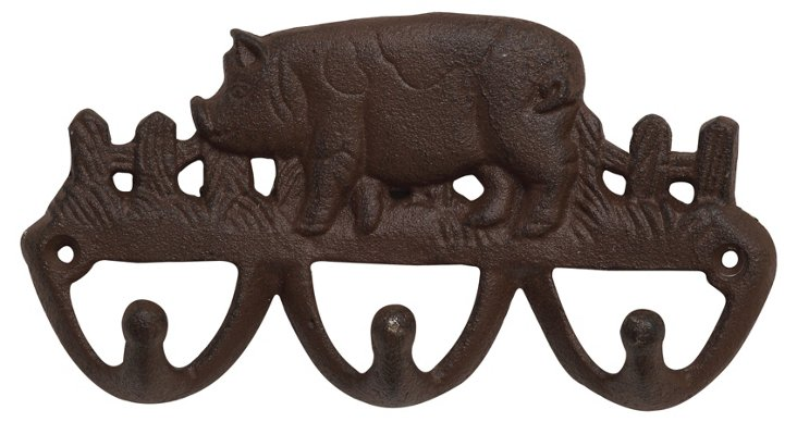Cast Iron Pig Wall Hooks