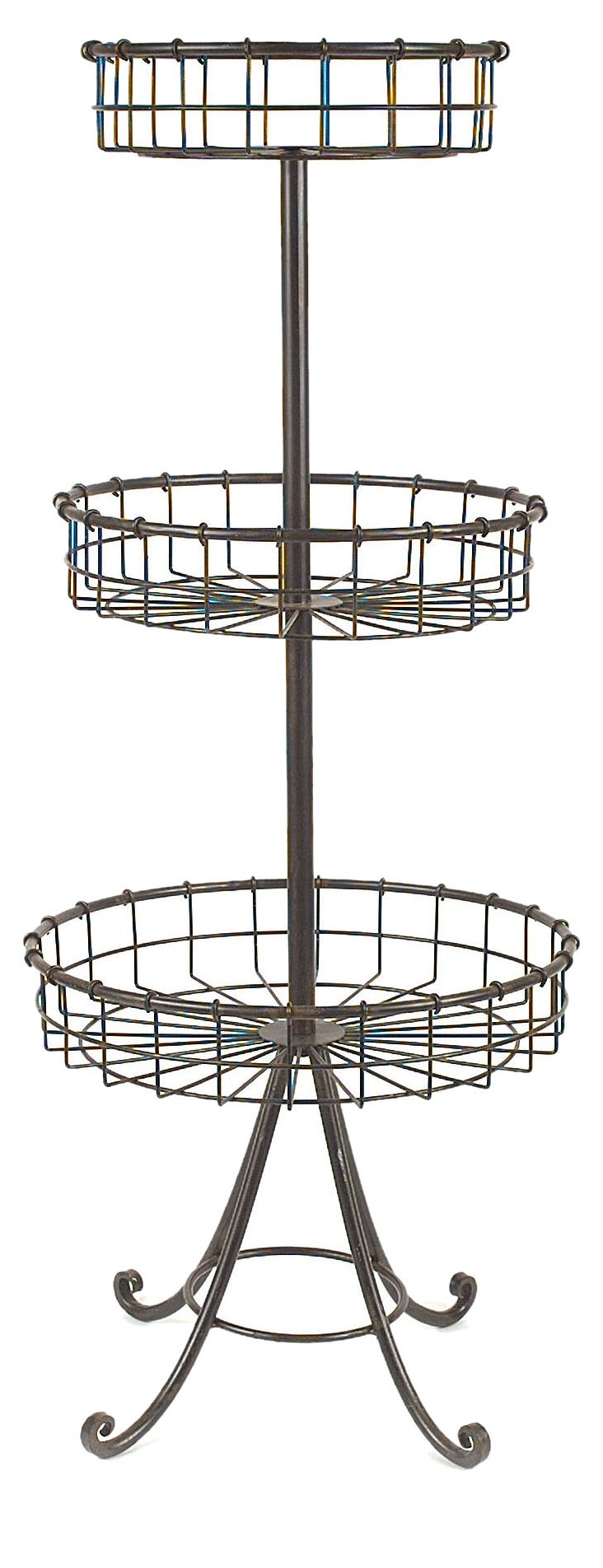 """37"""" Metal & Wire Tiered Basket Table"""