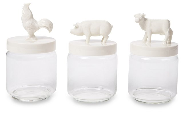S/3 Barnyard Glass Jars, White