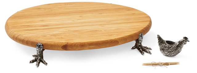Zinc Alloy and Bamboo Cheese Board