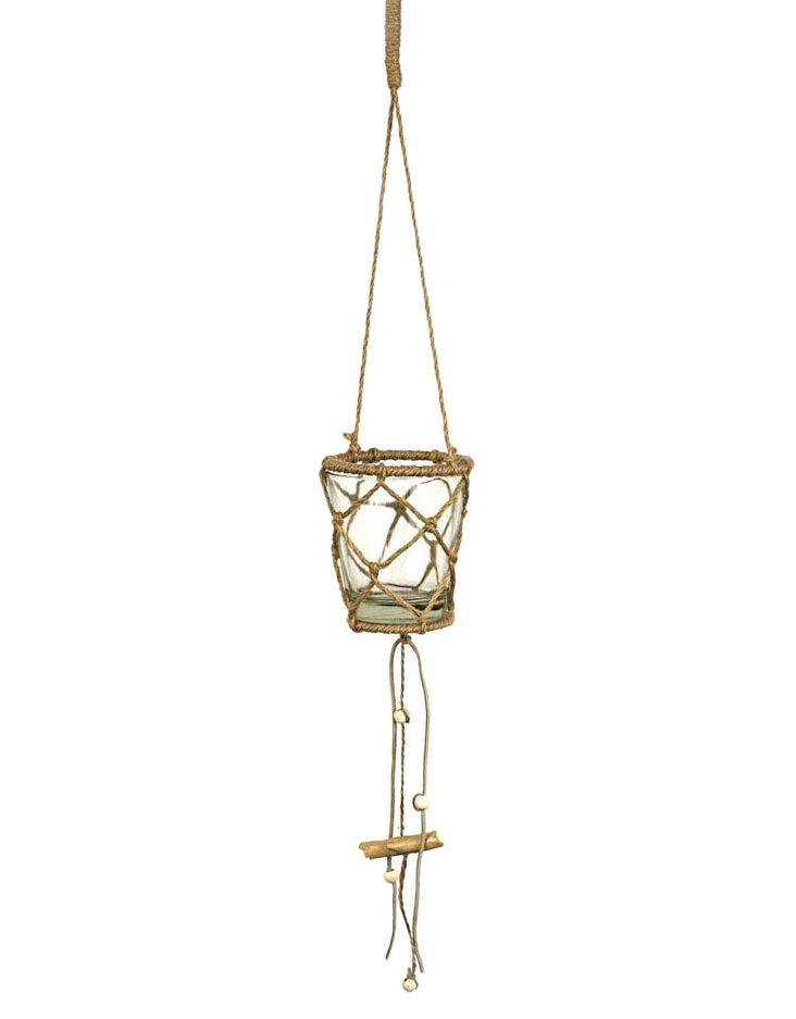 Hanging Glass Candleholder, Brown