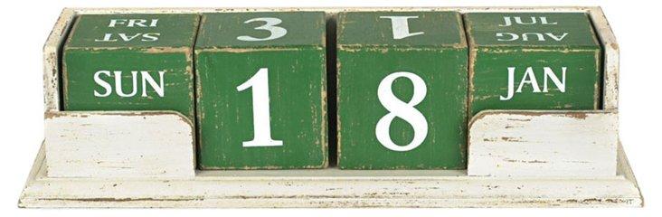 Wood Block Calendar, White/Green