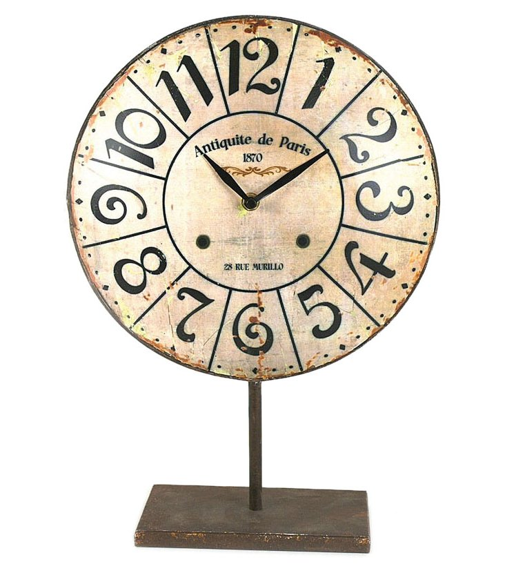 "16"" Metal Clock on Stand"
