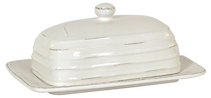 Dolomite Butter Dish, White