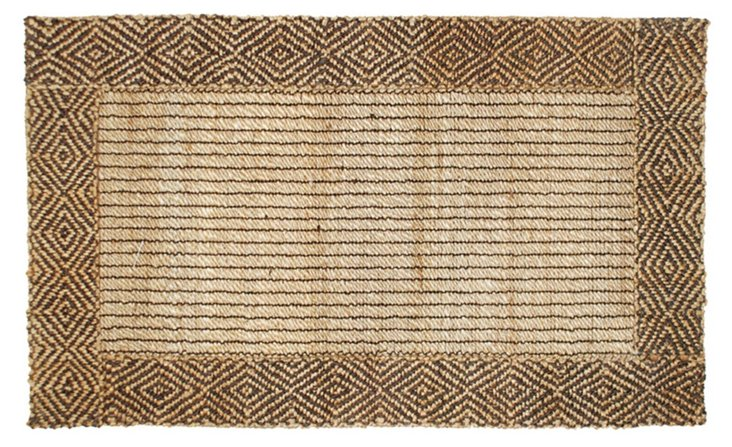 Diamond Jute Rug, Brown/Natural