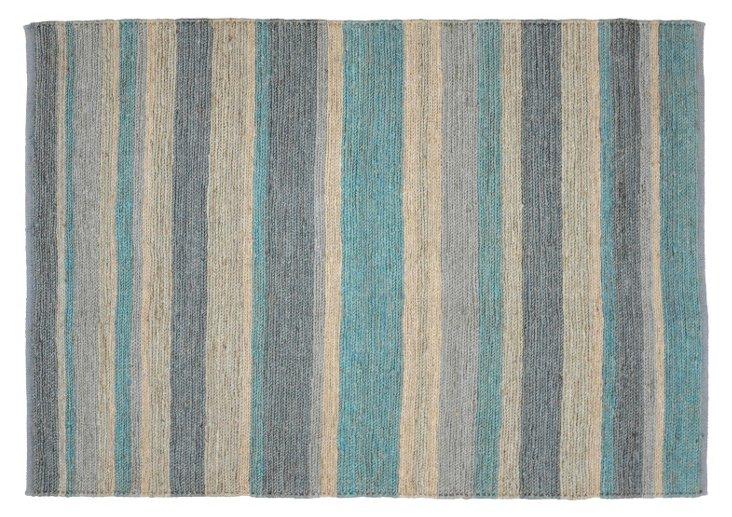 9'x12' Stripe Jute Soumak Rug, Teal