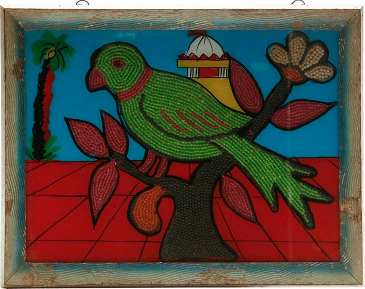 Indian Beadwork Bird Painting I