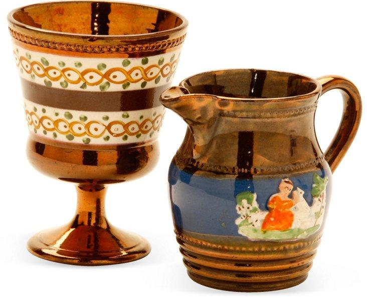 19th-C. Lusterware Cup & Jug