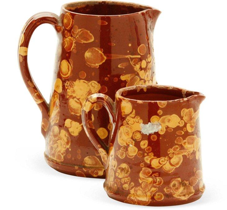 Vintage Ceramic Pitchers, Set of 2
