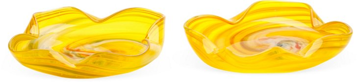 Yellow Glass Dishes, Pair