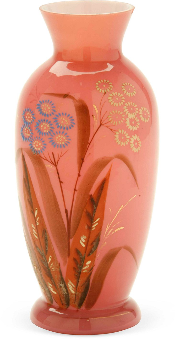 19th-C. Hand-Painted Pink Opaline Vase