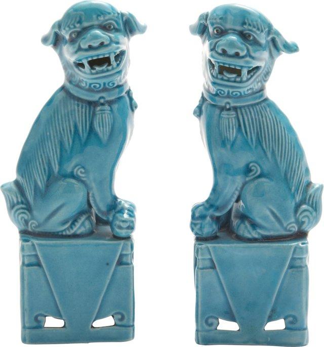 Mini Turquoise Foo Dogs, Pair