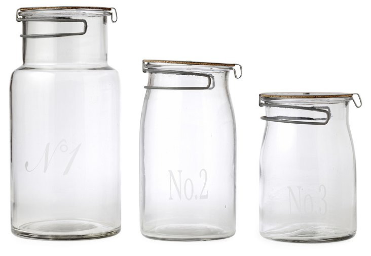 S/3 Numbered Glass Jars