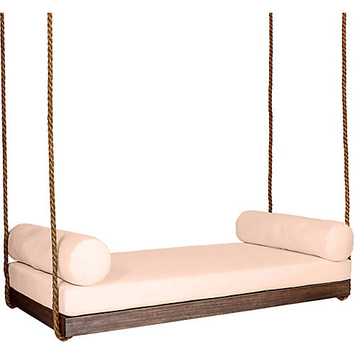 Sipsey Porch Swing, Coffee/Rose Sunbrella