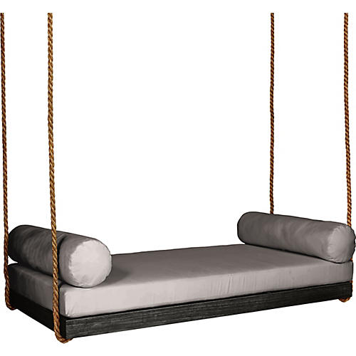 Sipsey Porch Swing, Black/Gray Sunbrella