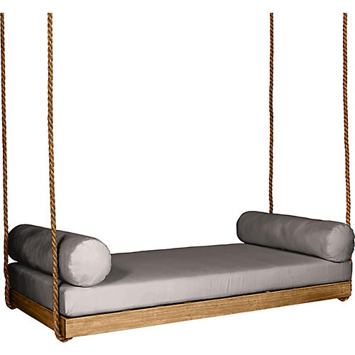 Sipsey Porch Swing, Natural/Gray Sunbrella