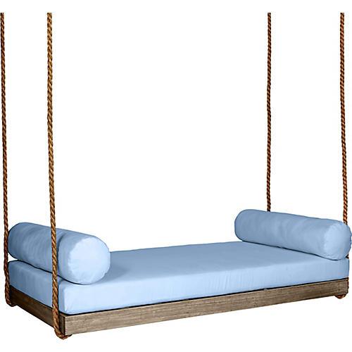 Sipsey Porch Swing, Driftwood/Blue Sunbrella