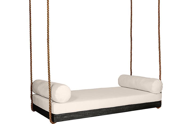 Sipsey Porch Swing, Black/Beige Sunbrella