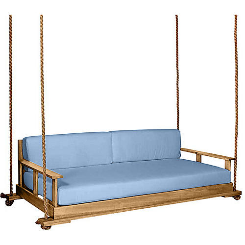 Faulkner Porch Swing, Natural/Blue Sunbrella