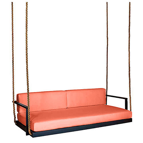 Conroy Porch Swing, Black/Orange Sunbrella