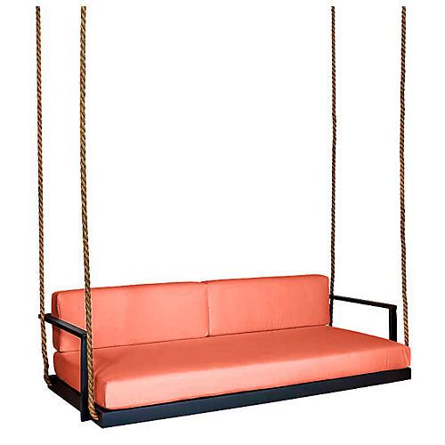 Conroy Porch Swing, Black/Orange Sunbrella