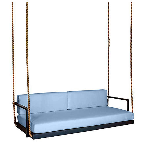 Conroy Porch Swing, Black/Blue Sunbrella