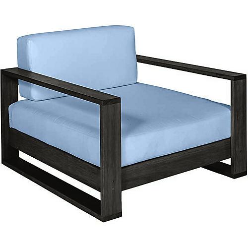 Percy Club Chair, Black/Blue Sunbrella