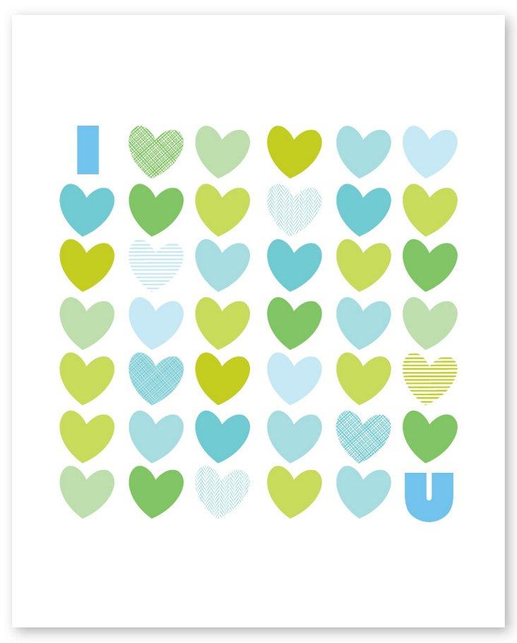 I Love You Print, Aqua