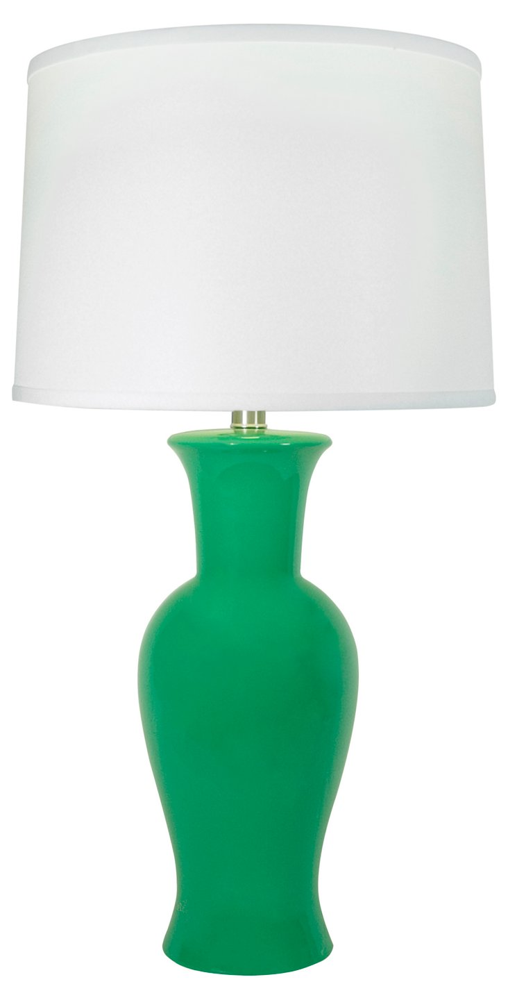 Caroline Ceramic Table Lamp, Kelly Green