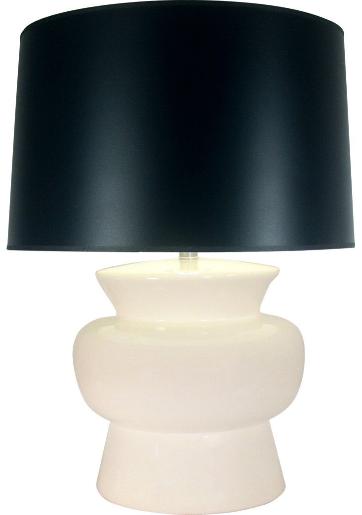 Drum Ceramic Table Lamp, Bone/Black