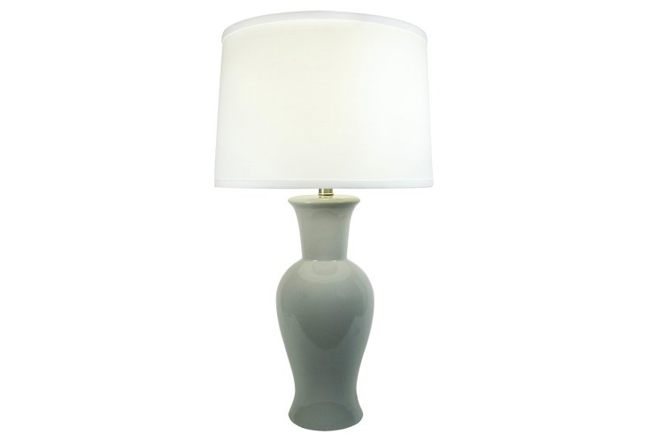 Caroline Ceramic Table Lamp, Light Gray