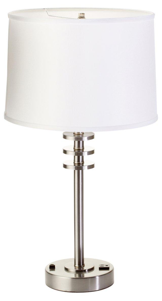 Floating Disks Table Lamp, Brushed Steel