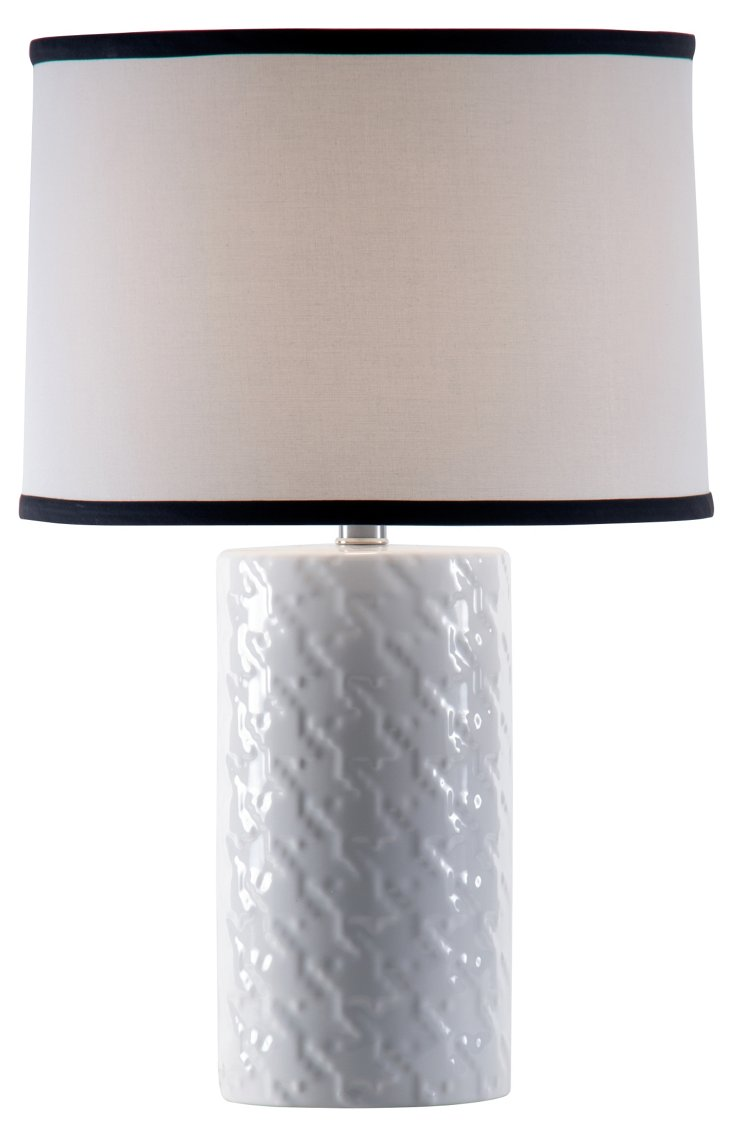 Houndstooth Accent Lamp, White Gloss
