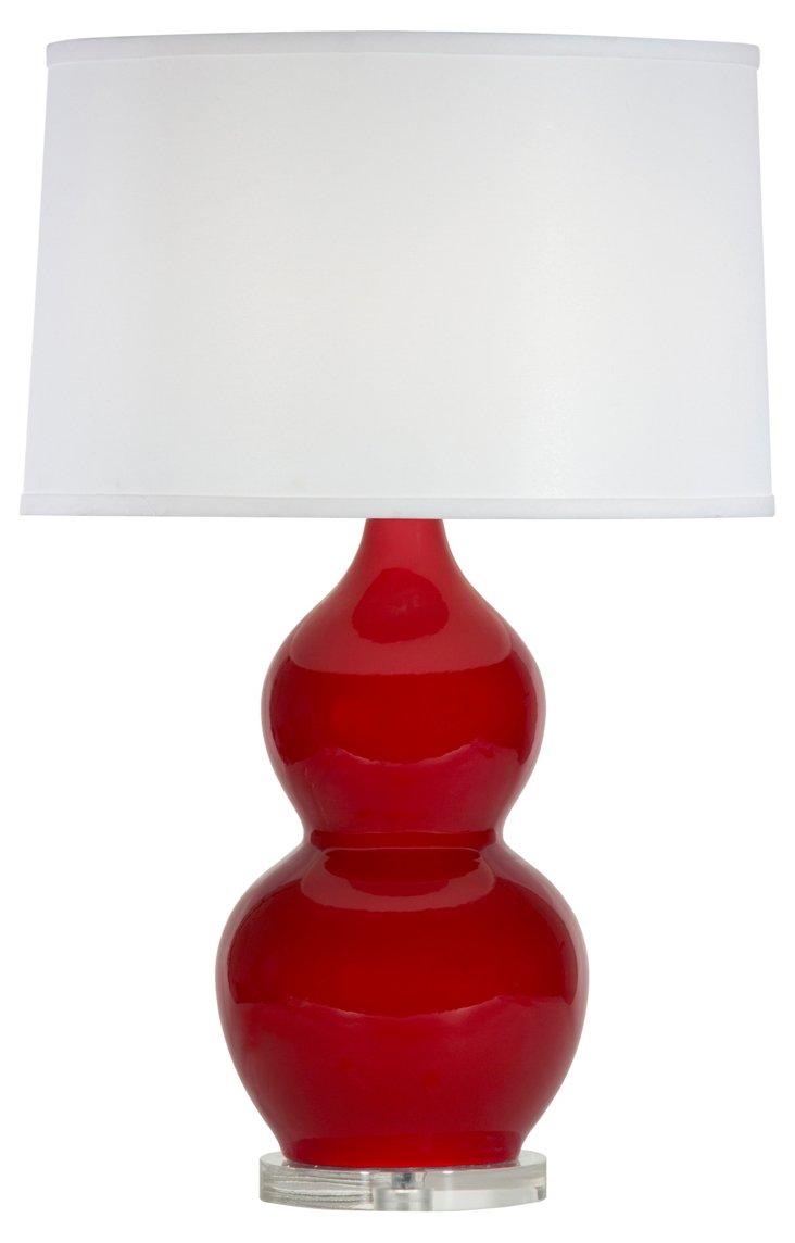 Emily Table Lamp, Red Gloss