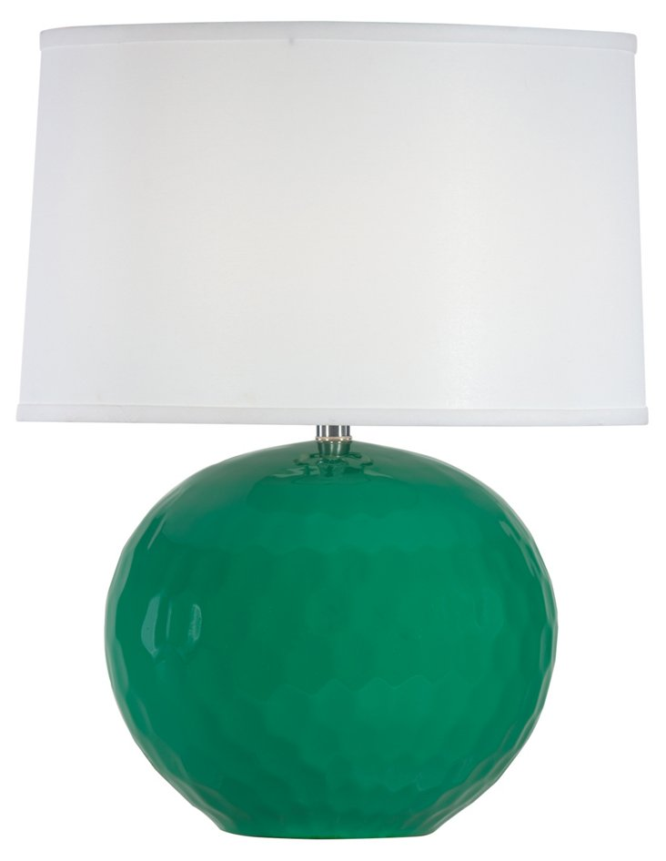 Frances Accent Table Lamp, Green Gloss