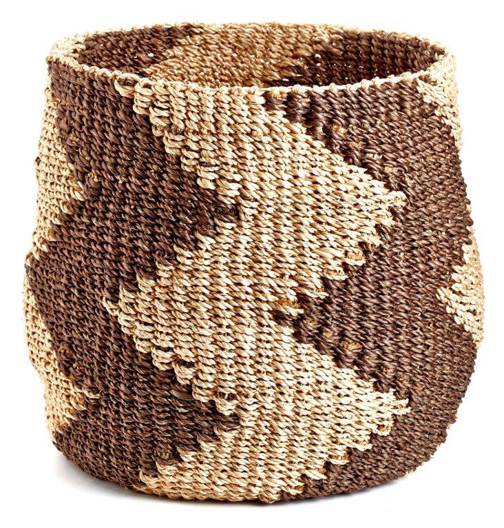 Zigzag Barrel Basket, Brown