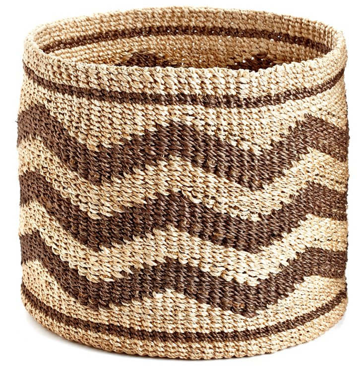 Zigzag Circle Basket, Brown