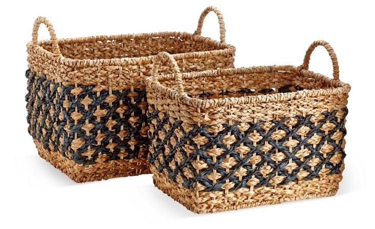S/2 Assorted Crisscross Baskets, Black