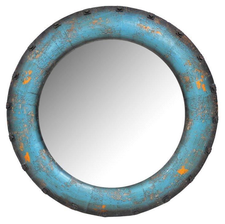 Santiago Pine Wall Mirror, Aqua