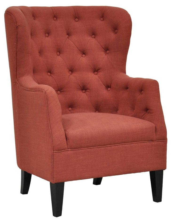 Cafer Wingback Chair, Rust