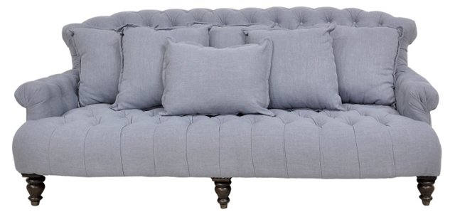 "Penley 89"" Sofa, Heather Blue"