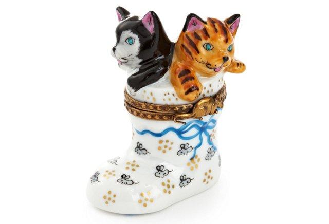 Boot Cat w/ Mice Box