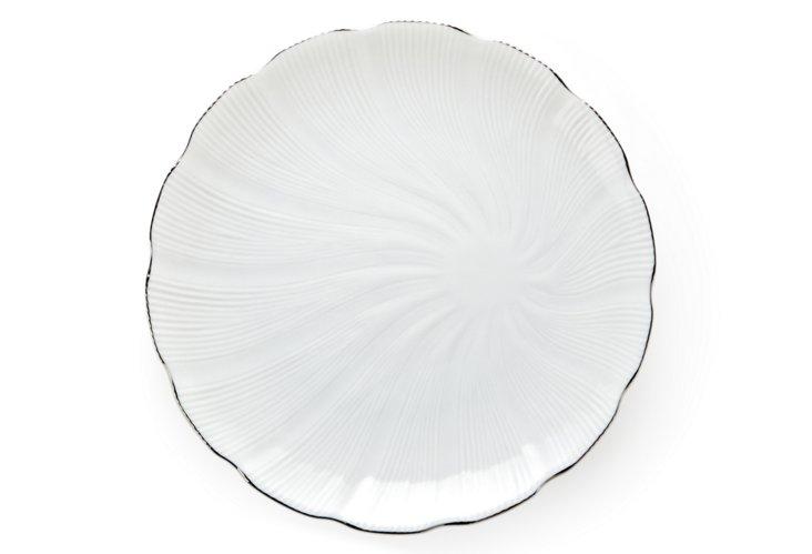 Tahiti Luncheon Plate, Silver/White
