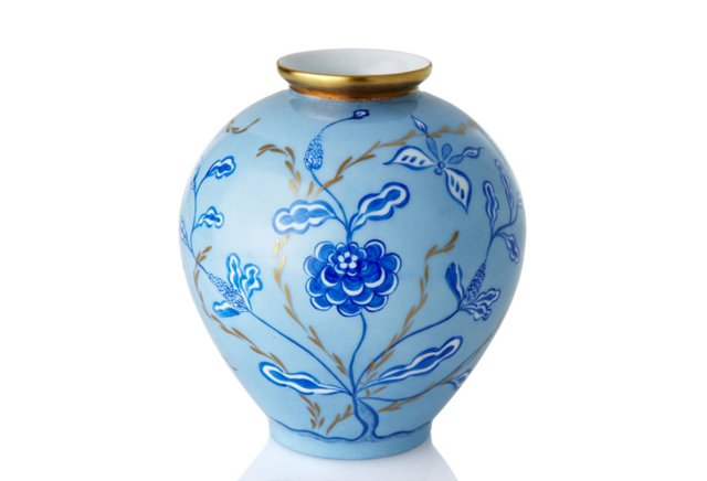"""7"""" Blue Chinoserie Vase"""